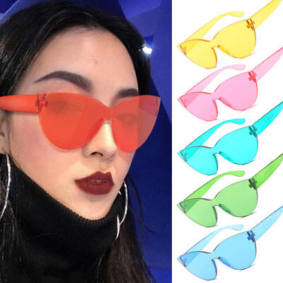 Women Cat Eye Sunglasses Without Frame Trendy Candy Colors Girl Sun Glasses (Sunglasses Without Sun)