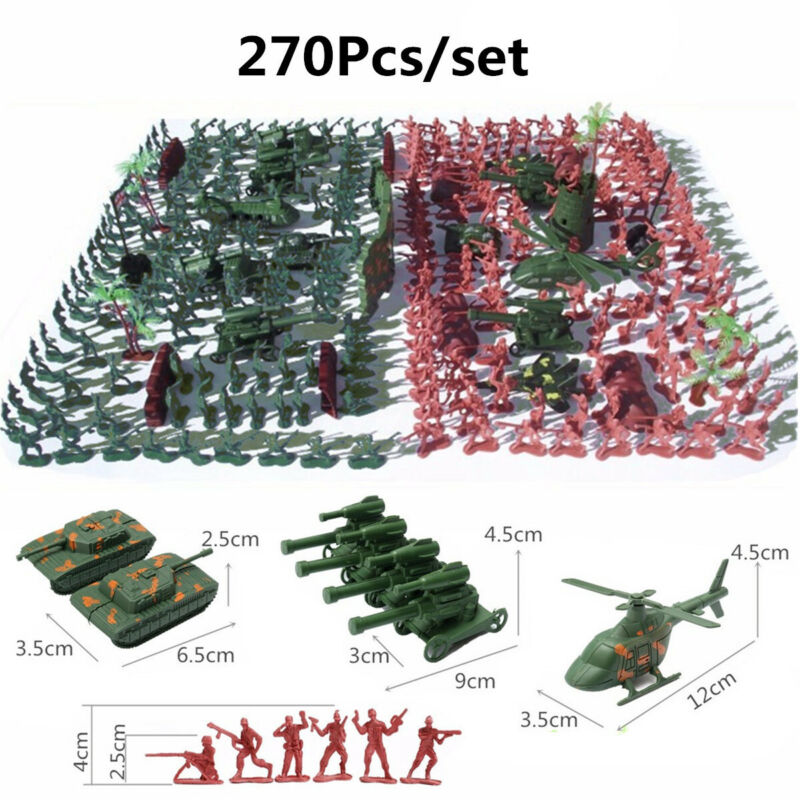 270 pcs Military Playset Plastic Toy Soldier Army Men 4cm Figures &  US