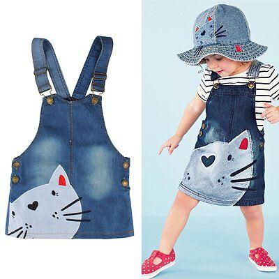Summer Cute Cat Baby Kids Girls Toddler Denim Jeans Overalls Dress Skirt Clothes