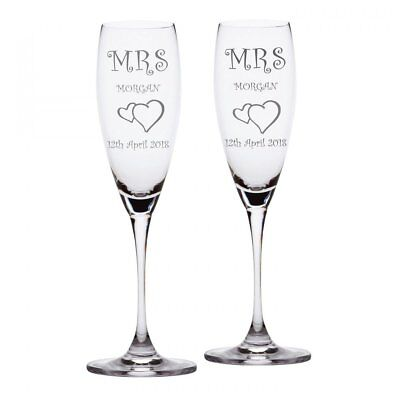 Personalised Mrs & Mrs Champagne Flutes Glass Hearts & Stem Charm add name date