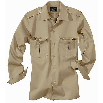 US HEMD LANGARM DIENSTHEMD KHAKI BEIGE Gr. S-3XL Army Safarihemd Freizeithemd