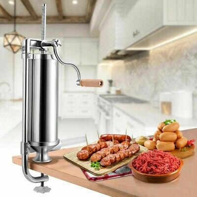 New 5lb 3l Stainless Steel Vertical Sausage Stuffer Maker W4 Sized Tubes