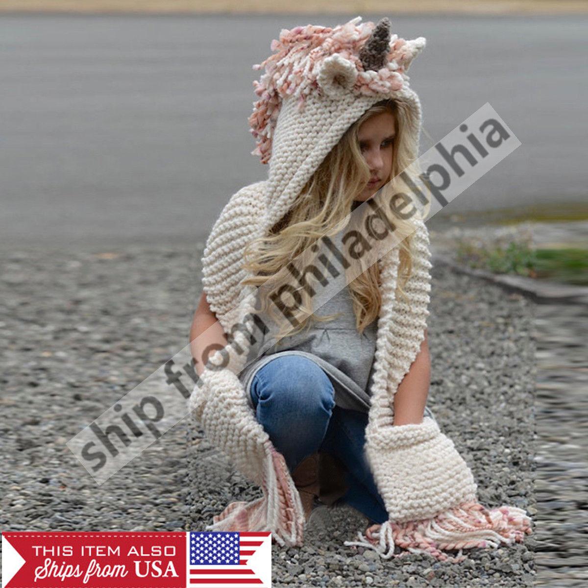 Unicorn Fox Baby Kid Girls Boy Knitted Hooded Scarf Hats Cro