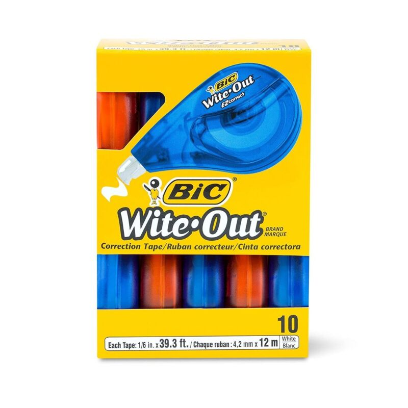 BIC Wite-Out Brand EZ Correct Correction Tape, White, 10-Count NEW