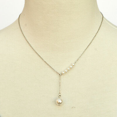 Fashion Necklace - Y Shape Adjustable Floating Pearl Necklace Silver Tone ()