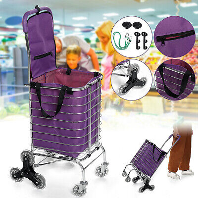 8 Wheels Folding Rolling Shopping Cart Trolley Grocery Basket With Free Bagrope