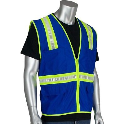 Pip Non-ansi Reflective Surveyor Safety Vest With Pockets Blue