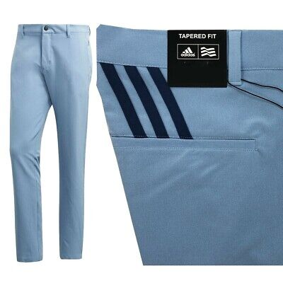 Adidas Ultimate 3 Stripe Performance Golf Trousers Tapered Fit Ash Blue