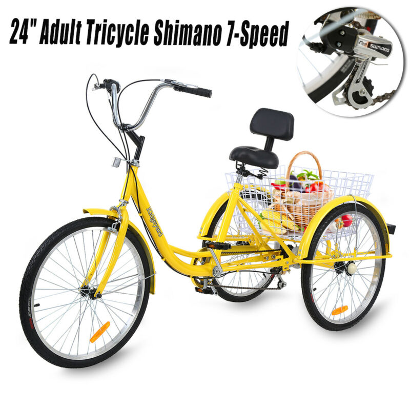 "Used 3-Wheels Trike 24"" Adult Tricycle 7-Speed Shimano Men/w"