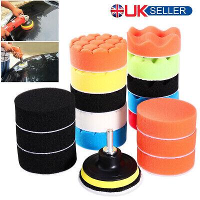"25pcs 3"" Buffing Waxing Polishing Sponge Pads Kit Set For Car Polisher Drill UK"