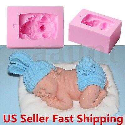 Newborn Sleeping Baby Shape Silicone Fondant Mold Cake Decorating 3D Mould US