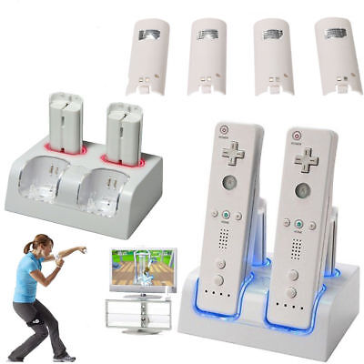 (Dual Charger Dock For Nintendo Wii Controller + 4 Rechargeable Battery Pack)