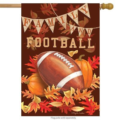 #23 FALL FAMILY AND FOOTBALL PUMPKINS LEAVES  HOUSE FLAG 28X40 BANNER