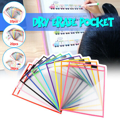 28x Reusable Dry Erase Pockets Sleeves Students Kids 10 Pens Learn Sheet Kit
