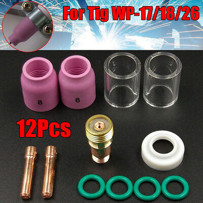 12pcs Tig Welding Stubby Gas Lens 10 Pyrex Cup Kit For Tig Wp-171826 Torch