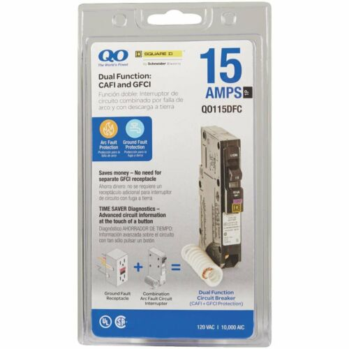 SQUARE D QO115DFC 15A DUAL FUNCTION AFCI/GFCI BREAKER NEW IN PACKAGE
