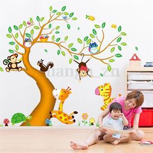 Autocollant sticker mural arbre for t animal amovible for Autocollant mural arbre
