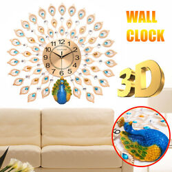 3D Peacock Wall Clock Metal Large Accurate Mute Art Creative Decor Home Office