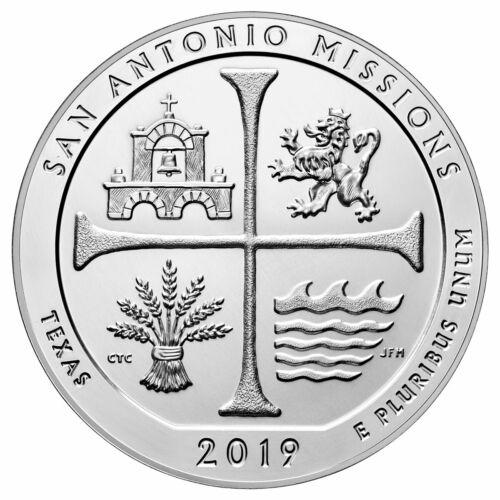 2019 San Antonio Missions 5 oz Silver ATB Beautiful Coin GEM BU SKU59289