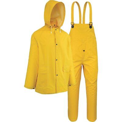 Westchester Protective Gear 3 Piece Yellow Polyester Rain Suit Overalls Jacket