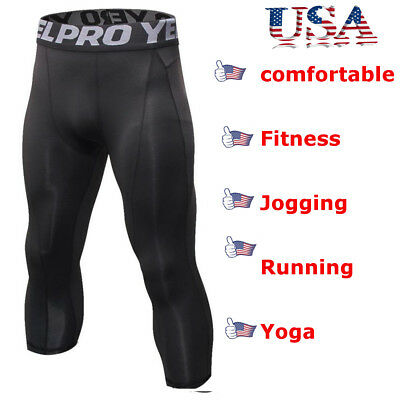 - Men Compression Shorts 3/4 Cropped Pants Gym Clothes Base Layers Running Tights