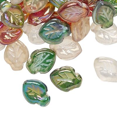 Luster Glass Beads (50 Pressed Glass Multicolor Luster Leaf Beads Fall Color Mix 12x9mm )
