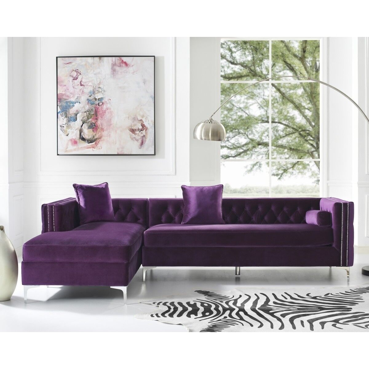 Surprising Details About Posh Living Levi Velvet Tufted With Silver Y Leg Chaise Sectional Sofa Purple Ncnpc Chair Design For Home Ncnpcorg