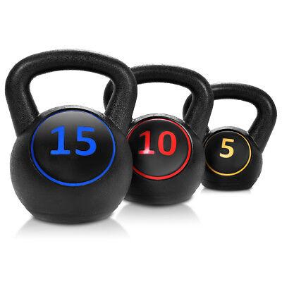 Home Gym 3 Pcs Vinyl Kettlebell Kit Body Muscles Training Weights 5 10 15lbs Set