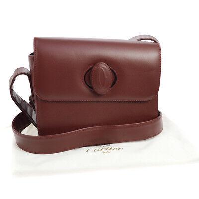 Auth CARTIER Must De Cartier Cross Body Shoulder Bag Bordeaux Leather S07712c
