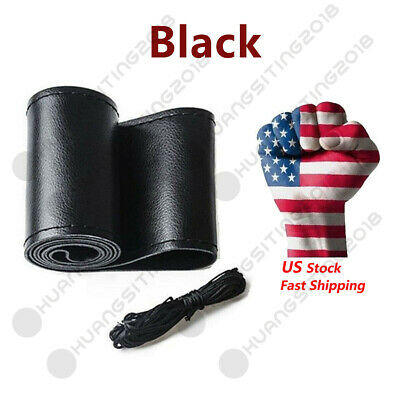 "14.5""-15"" Black Motor Genuine Leather Steering Wheel Cover For Car SUV Truck W01"