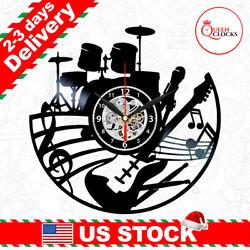 Music Clock Vinyl Record Musical Instruments Wall Decor Christmas Gifts Musician