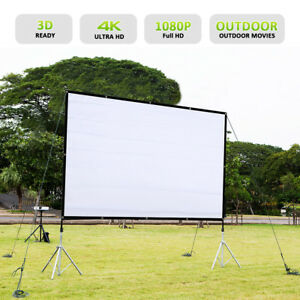 84'' 16:9 Portable Foldable Projector Screen HD Home Theater Outdoor 3D Movie US