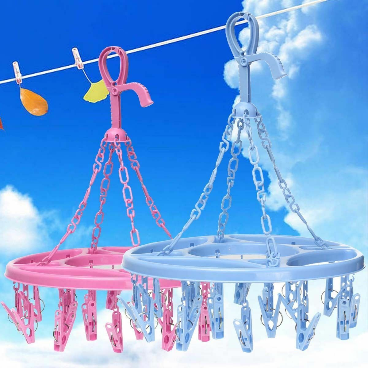 18 Clips Clothes Drying Hanger Drip Rack Socks Bra Undies Dryer