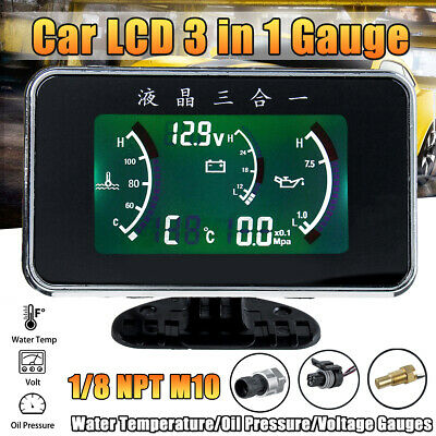 3 In 1 LCD Car Oil Pressure/Voltmeter Voltage/Water Temperature Gauge Meter