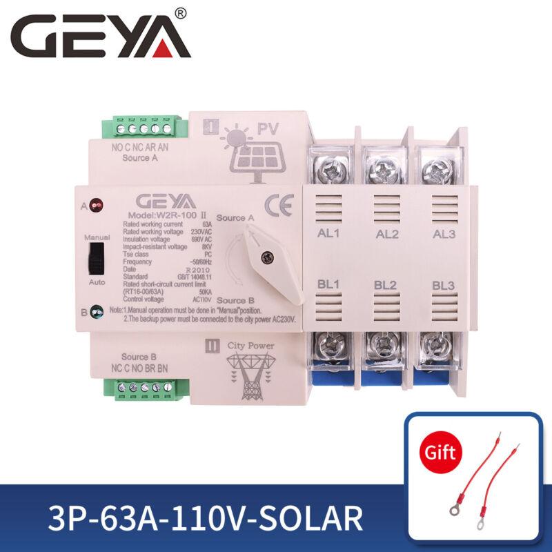 PV Solar Automatic Transfer Switch 3P 63A 110V Solar To Grid Dual Power 50/60Hz