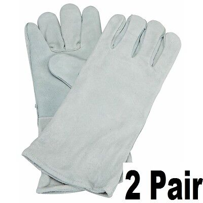 2 Pair Of 14 Welding Gloves Gray Leather Cowhide Protect Welder Hands