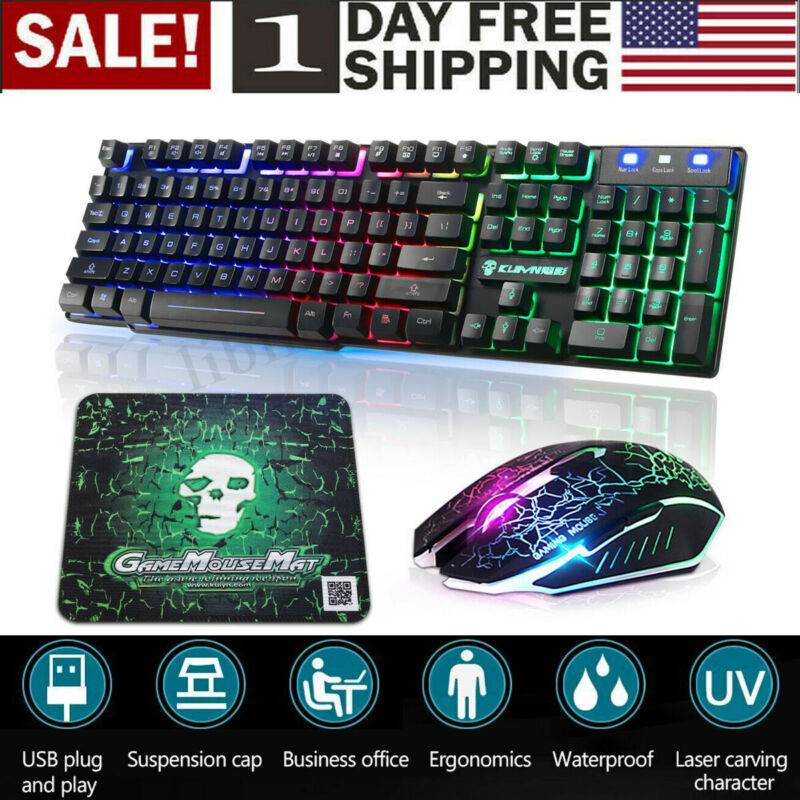 Gaming Keyboard & Mouse Combo Rainbow RGB Backlit LED Mechan