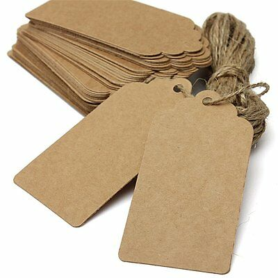 100 Brown Kraft Paper Gift Tags Present Scallop Label Blank wedding price jar