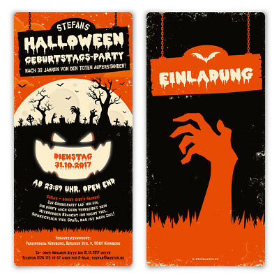 karten Kostüm Party Geburtstag Einladung 31.10 Zombie Kürbis (Kürbis Kostüm Halloween)