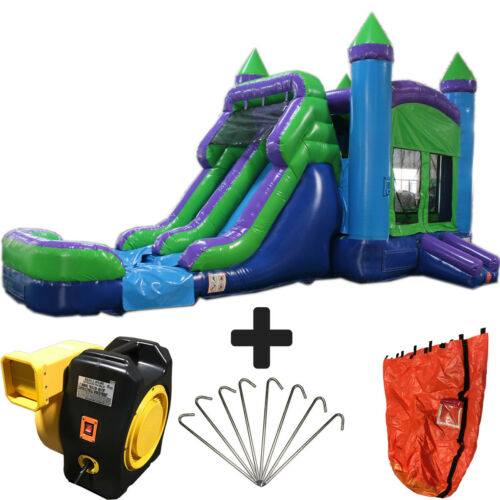 28ft Green N Purple Wet/dry Commercial Inflatable Bounce House Water Slide Combo