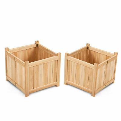 2 PCS Square Wood Flower Planter Box Raised Vegetable Patio Lawn Garden](Wood Planter Boxes)