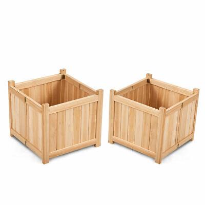 2 PCS Square Wood Flower Planter Box Raised Vegetable Patio