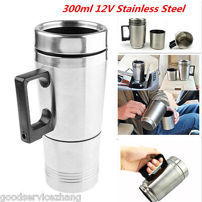 12V Stainless Steel Car Auto Adapter Travel Mug Thermos Heating Cup Kettle 300Ml