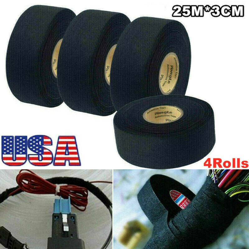 4Pcs Harness Tape Wiring Loom Adhesive Cloth Electric Fabric Insulation Tape 25m