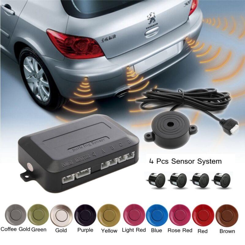 Parking 4 Sensors Car Reverse Backup Rear Buzzer Radar System Kit Sound
