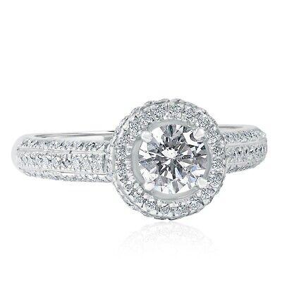 Classic 1.21 Carat Round Cut Diamond Engagement Ring 14k White Gold
