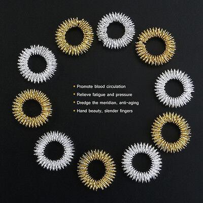10pcs Edelstahl Acupressure Massage Fingermassage Ring Akupressur Gold/Silber