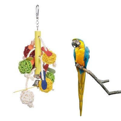Large Parrot Pet Bird Toys Perch Budgie Cockatiel Chew Hanging Swing Wooden