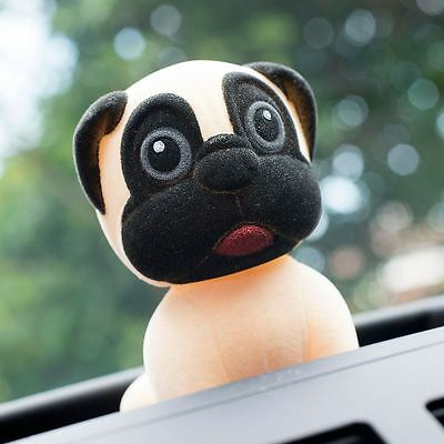 Pug Bobble Head Nodding Dog Car Dashboard Accessory