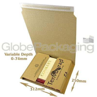 10 x LARGE C4 BOOK WRAP MAILER POSTAL BOXES 312x250x74mm - A4 SIZE